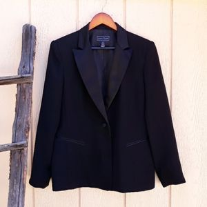 Karen Scott Blazer Tuxedo Smoking Jacket Black 12